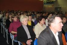 Наставники и учащиеся  - зрительный зал переполнен.